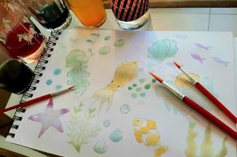 ציור צדפים וחיות ים בצבעי מים תוצרת בית